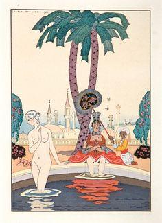BARBIER, Georges. Costume Plate, garden scene.  Original pochoir print, depicting an Orientalist garden scene, France 1921.