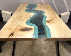 SOLD Live edge River Table with with epoxy inlay SOLD