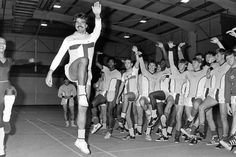 Stella Mae from the English Dance Theatre puts Sam Allardyce and the rest of the City's squad through their paces on the day ballet came to the Sky Blue Connection. 17th November 1983