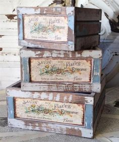 French Flower Market Crates Square Planters Set of 3 | eBay