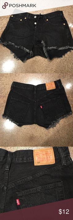 Levi's 501 Denim Shorts Levi's 501 Denim Shorts - Black Faded Wash/ Clorox Wash/ Vintage Denim Shorts Levi's Shorts Jean Shorts