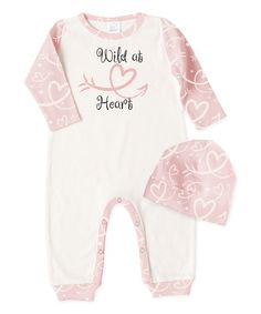 Look what I found on #zulily! Ivory & Pink 'Wild At Heart' Playsuit & Beanie - Infant #zulilyfinds