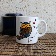 ekeyart: Una taza pintada a mano con un poco de amor de búho  / Hand painted mug with some owl love