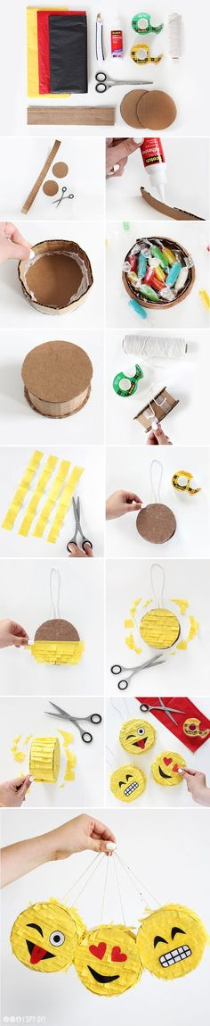 Making Pinata: A sweet surprise for your child's birthday - Making Furniture yourself DIY Fun Crafts, Diy And Crafts, Crafts For Kids, Festa Party, Diy Party, Party Ideas, Emoji Pinata, Emoji Craft, I Spy Diy
