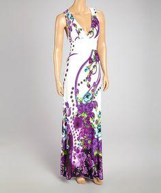 Look at this #zulilyfind! Purple & White Garden Surplice Dress by IB Diffusion #zulilyfinds