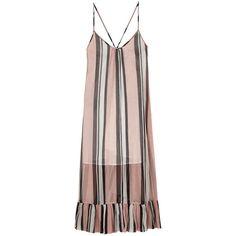 Baum Und Pferdgarten Stripe Strappy Dress ($295) ❤ liked on Polyvore featuring dresses, pink, cross back dress, v neck midi dress, crepe dress, strap dress and pink stripe dress
