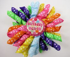 Birthday Hair Bow Birthday Polka Dot Korker by OhSoPrettyByAsia
