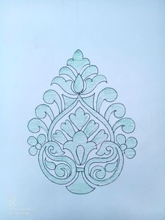 Handmade Embroidery Designs, Peacock Embroidery Designs, Floral Embroidery Patterns, Indian Drawing, Dress Design Drawing, Kerala Mural Painting, Maggam Work Designs, Pencil Design, Beautiful Rangoli Designs