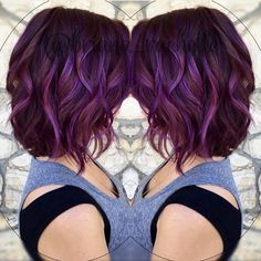 Whimsical Curly Bob and Purple Color Melt by @briana_rachelle Looks like we are going to have a beautiful fall #hotonbeauty