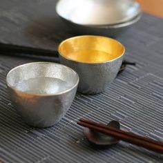 NOUSAKU Tin 100% Guinomi Choko (Sake cup) (78ml x 2pcs (one gild))