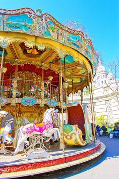 Carrousel in Montmartre, Paris, France, with a view of Sacre Coeur Church. Carnival Photography, Saint Chapelle, Carnival Rides, Fun Fair, Triomphe, Merry Go Round, Nice France, Carousel Horses, Eiffel