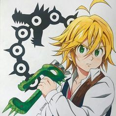 Seven Deadly Sins Symbols, Seven Deadly Sins Anime, 7 Deadly Sins, Anime Drawings Sketches, Cool Art Drawings, Manga Drawing, Manga Art, Arte Do Kawaii, Kawaii Anime