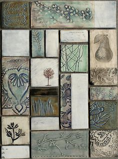 Dotti Potts Pottery-Pottery, fashion jewellery, earrings and rings Ceramic Tile Art, Clay Tiles, Ceramic Clay, Slab Pottery, Ceramic Pottery, Slab Ceramics, Tile Murals, Handmade Tiles, Clay Design
