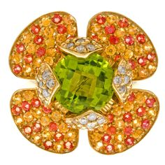 Fine Peridot Yellow & Orange Sapphire Diamond Flower Ring