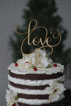 Rustic LOVE Wedding Cake topper - Wooden cake topper - Engagement Cake topper