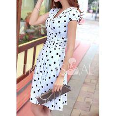 Sexy Career Women's High Waist Slim Short Sleeve V Neck Polka Dot Dress