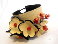 Leather flowers bracelet. Leather floral corsage cuff