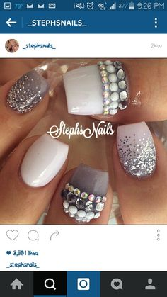 a the glitter jewlery queen Glam Nails, Fancy Nails, Bling Nails, Love Nails, Glitter Nails, Beauty Nails, My Nails, Hair Beauty, Fabulous Nails