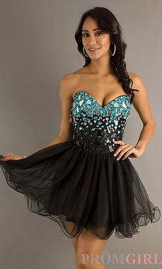Short Black Corset Style Prom Dress by Dave and Johnny at PromGirl.com