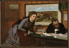 Sulking - Edgar Degas, ca. 1870. The Metropolitan Museum of Art, New York. I especially like the double Degas treatment. Painting within painting, Race horses in background. H. O. Havemeyer Collection, Bequest of Mrs. H. O. Havemeyer, 1929 (29.100.43) #letters #Connections