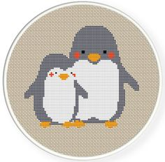 Instant download,free shipping,Counted Cross stitch pattern,Cross-Stitch PDF,nursery decor,mother penguin and her baby penguin , zxxc0320 by danceneedle on Etsy