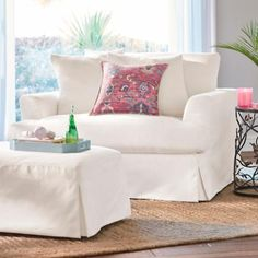 Available in your choice of removable, easy-care LiveSmart® Slipcovers which feature spill-and-stain-repelling technology that wraps every fiber in protection. To change your look, additional slipcovers sold separately. Home Office Furniture, White Furniture, Sofa Furniture, Furniture Design, Outdoor Furniture, Metal Furniture, Furniture Stores, Furniture Ideas, Chair And A Half