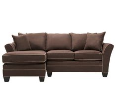 Serenity—it's what this elegant Foresthill 2-piece microfiber sectional sofa in chocolate is all about. Its soft and gorgeous microfiber fabric is graced by contrast welting that adds striking shape and design to the piece. Plus, the microfiber upholstery is also super durable and easy to care for, so it's a perfect choice for homes with kids and pets.