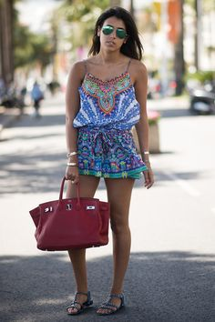 It doesn't get easier or cuter than a bold printed romper for a laid-back Summer look.