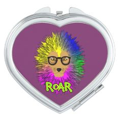 A fabulous illustration of a bespectacled lion; king of the jungle with a big hairy main in bold psychedelic rainbow colors. A bright bold popping graphic compact mirror.
