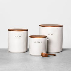Coffee Stoneware Canister With Wood Lid & Scoop - Hearth & Hand™ With Magnolia. - Coffee Stoneware Canister With Wood Lid & Scoop – Hearth & Hand™ With Magnolia : Target - Flour Canister, Coffee Canister, Tea Coffee Sugar Canisters, Kitchen Gifts, Home Decor Kitchen, Kitchen Stuff, Kitchen Things, Kitchen Items, Kitchen Countertop Decor