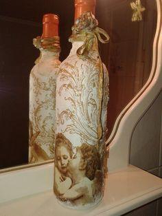 Decoupage and powertex bottle of wine Stella