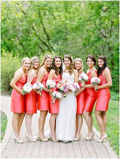 Classic Chicago Wedding by Kina Wicks via One Hitched Lane #coral #bridesmaids