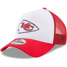 795551e2a0b Men s Kansas City Chiefs New Era White Red Trucker Hit 9FORTY Adjustable Hat