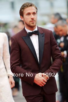 Bespoke men suits for grooms - red, wool with black stain; US $159.00 (I would sub in a purple tinged bow tie and flower/pocekt square).