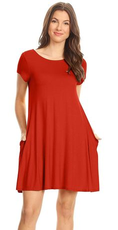 3585ac0ec06 Casual T Shirt Dress for Women Flowy Tunic Dress with Pockets Reg and Plus  Size - USA
