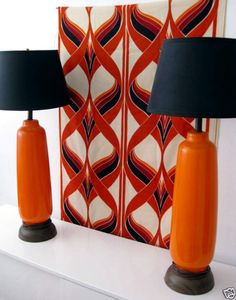 Pair Vintage Ceramic Lamps Panton FlowerPot Light Vintage Studio Nova  Carafe New Double Roll Orla Kiely Blossom Wallpaper Three.