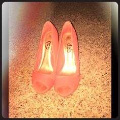 Peach formal heels 6 inch heels, open toed, great for prom or any formal dance! Deb Shoes Heels