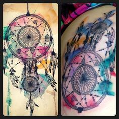 The Watercolor Dreamcatcher - beautiful Atrapasueños Tattoo, Piercing Tattoo, Piercings, Top Tattoos, Great Tattoos, Beautiful Tattoos, Tatoos, Watercolor Dreamcatcher Tattoo, Watercolor Tattoos