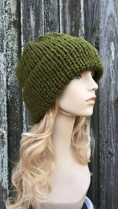 Chunky Knit Hat, Mens Hat, Womens Hat, Winter Hat, Double Thick Brim Hat, Warm Winter Beanie, Knit Beanie, Knit Cap, Delphine Cilantro Green Chunky Crochet Hat, Crochet Santa Hat, Knitted Hats, Knit Crochet, Crochet Hats, Knit Beanie, Beanie Hats, Brim Hat, Beanies