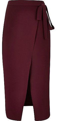 River Island Womens Dark red wrap split front midi skirt