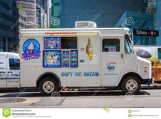 White Ice Cream Van On A Street In New York City Editorial Photo ...