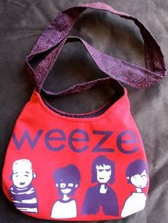 WEEZER  Upcycled Rock Band Tshirt Purse  OOAK by evilrose on Etsy
