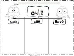 love this tree map: can, are, have - to go with owl art. perfect for close read on owl moon Owl Activities, Writing Activities, Toddler Activities, First Grade Science, First Grade Writing, Birds Of Prey, Reggio, Owls Kindergarten, Owl Theme Classroom