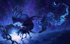 Fantasy Pegasus  Wings Horse Chain Blue Space Wallpaper