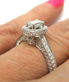 1.04 Antique Vintage Inspired Emerald Cut Diamond Engagement Ring. $1,250.00, via Etsy.