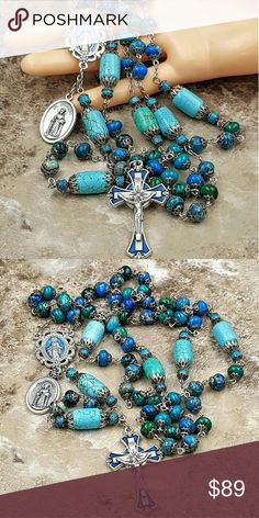 """Stress Anxiety Chrysocola Turquoise Rosary Rosary with Chrysocola, Turquoise, Sea Sediment Jasper &Howlite for Stress Anxiety Depression Protection Calm  - Chrysocola &Sea Sediment Jasper  gemstone rondelle 8 mm Ave beads.  - Blue Howlite and Turquoise Our Father beads.  - Large Ornate Blue enamel two sided 1"""" Miraculous Mary/Sacred Hearts Scallop center, Italian 1 3/4"""" blue enamel sunburst Crucifix.   - Two sided St Dymphna/third class relic - piece of sacred cloth Italian medal Material…"""