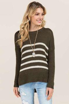Jett striped step hen pullover sweater $44