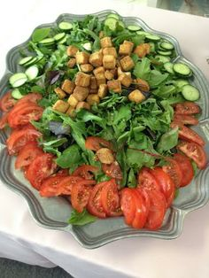Delicious salad for a group of 15 people tonight, it had ranch or Italian dress on the side.  Loved the presentation!
