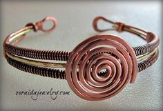Spiral and Coil Copper and Brass Bracelet | zoraida - Jewelry on ArtFire