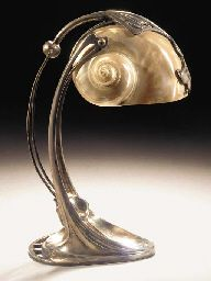 SILVERED METAL TABLE LAMP / attributed to Gustav Gurschner / with nautilus shell lampshade